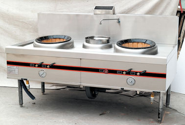 China Commercial Gas Two Burner Cooking Range 1900mm For Hotel , Stainless Steel factory