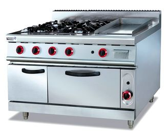China Commercial Gas Range 4-Burner With Griddle and Bottom Oven Western Kitchen Equipment factory