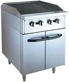 China Stainless Steel 380V Gas Lava Rock Grill With Cabinet 12KW For Kitchen Equipments factory