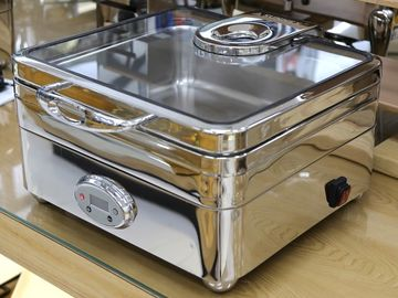 Temperature Memory Stainless Steel Cookwares / Square Electric Chafing Dish