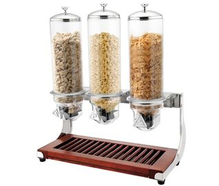 CE Stainless Steel Cookwares , Wooden Base Triple Cereal Dispenser for Buffet Service 4.0Ltr x 3