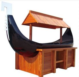 Boat Shaped Commercial Buffet Equipment Mahogany Made Refrigerated Sushi Buffet Counter