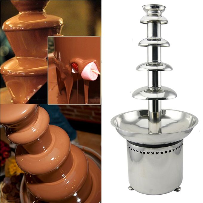 304 Stainless Steel 5 Tiers Chocolate Fondue Fountain Machine Heat Stability