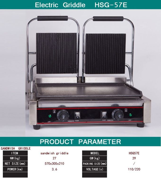 Double Heads Electric Sandwich Griddle Snack Bar Equipment 110V/220V
