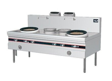 Commercial Gas Cooking Stoves Double Burner Range With 2 Rear Pots