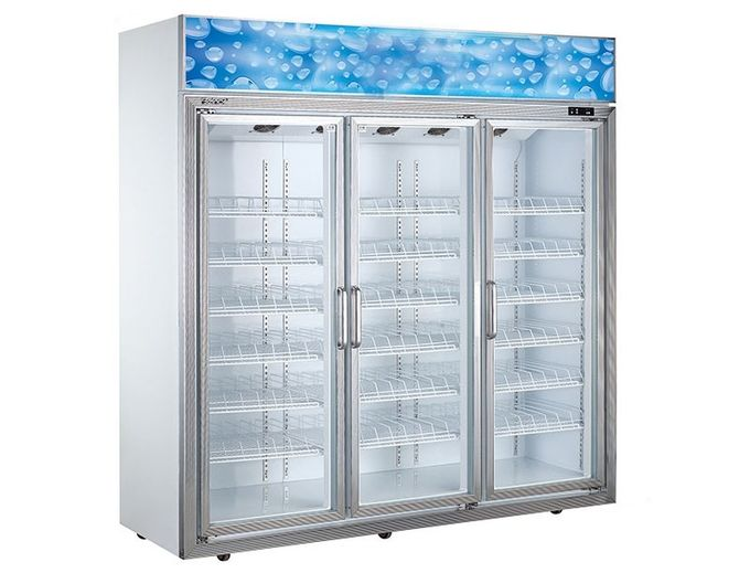 Vertical Supermarket Display Refrigerator , Three Glass Door Commercial Fridge Freezer