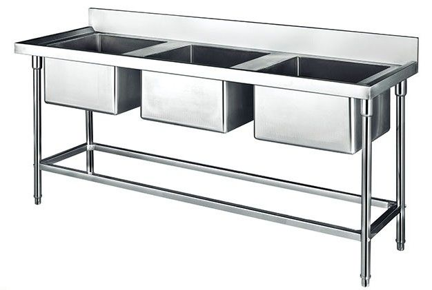 China Commercial Stainless Steel Sink Three Bowl 1800*700*800+150mm Thick  1.2