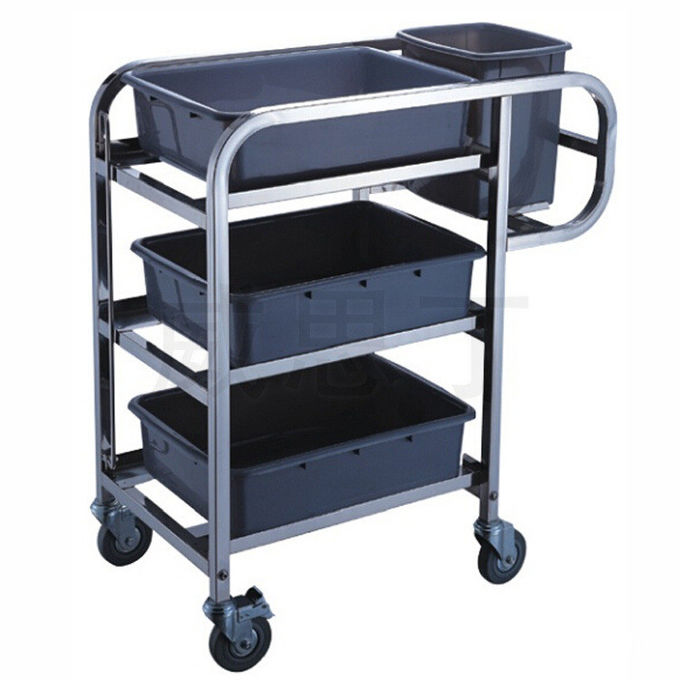 3 - Layer Stainless Steel Hand Trolley With Basins And Buckets
