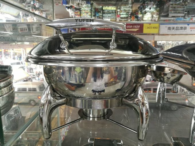 Round Chafing Dish Hydraulic Lid with Glass Window Optional φ35cm 6.0Ltr Food Pan Stainless Steel Cookwares