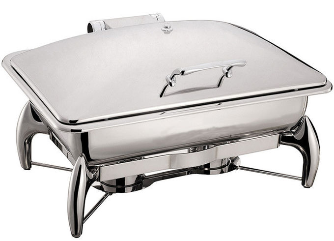 Stainless Steel Chafing Dish Mechanical Hinge Lid 9.0Ltr Food Pan Buffet Cookwares Electric or Sterno Heat Source