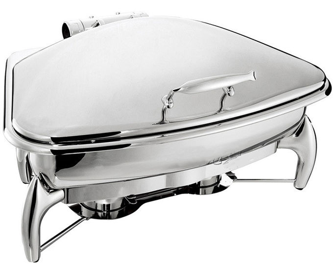 Fan-Shaped Stainless Steel Food Warmer Induction Chafing Dish Optional 5L or 8L Fan-shaped Food Container