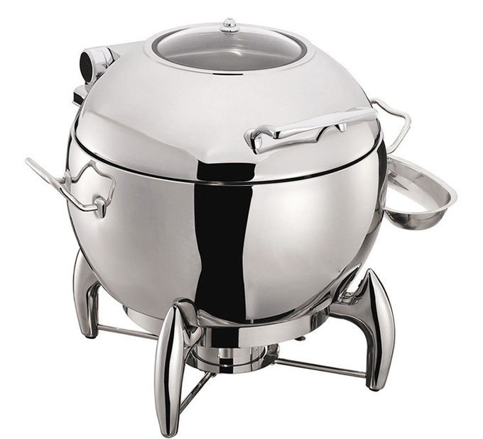 Round Mechanical Hinge Induction Soup Station Optional 11L Soup Bucket Stainless Steel Chafing Dish