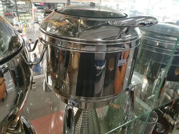 Buffet Ware Stainless Steel Cookwares Roung Soup Warmer With Glass Window / Lid 10Ltr