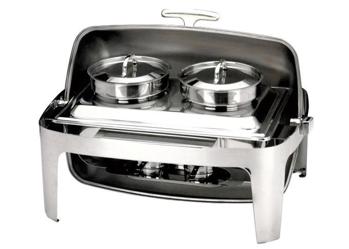 Stainless Steel Rectangular Roll Top Chafing Dish Set With 2 x 4.0Ltr Soup Bucket Optional Visual Windowed Lid
