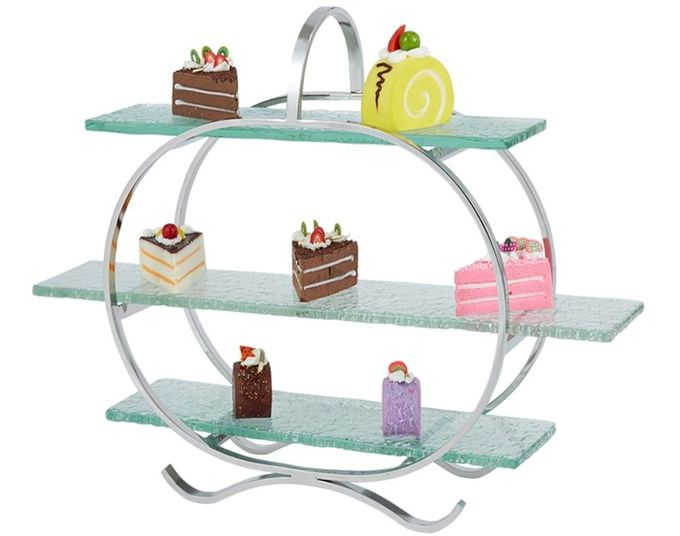 3 - Layer Glass Cake Display Stand with Platters Decorating for Banquet Serving Buffet