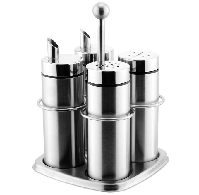#304 Stainless Steel Salt and Pepper Shaker Porcelain Dinnerware Sets Condiment Pots with Lid 1.5 - 2.5mm Holes