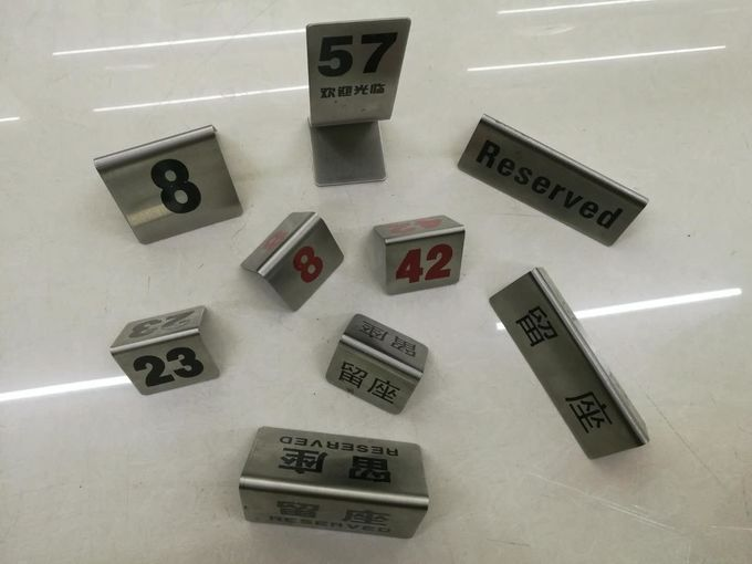 stainless steel reserved table number stands in english or chinese