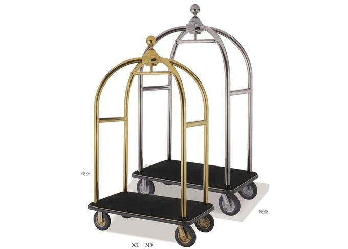 Hotel Lobby Room Service Trolley Stainless Steel Mirror Gold Finish with Red Carpet Platform