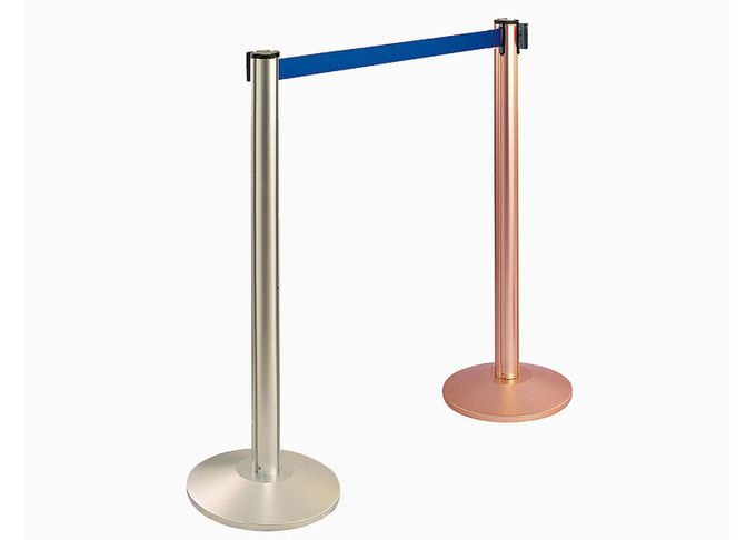Retractable Belt Type Railing Stand Stainless Steel Crowd Control / Guidance Stanchion with Dia.32CM Wide Weighted Base