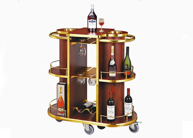 2 Shelves Black Wood Liquor Luxury Hotel Wine Trolley / Room