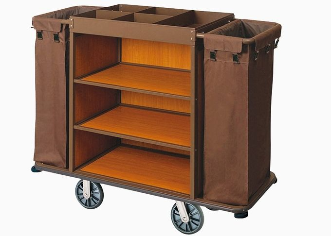 Brown Hotel Room Service Trolleys with 6 Inches PPR Casters Heavy Duty Linen Bags