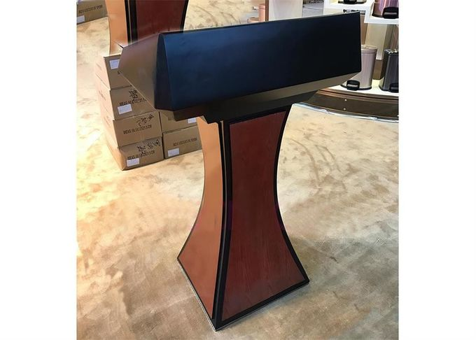 Hotel Rostrum Room Service Equipments Wood Lecture Tables With Metal Decoration