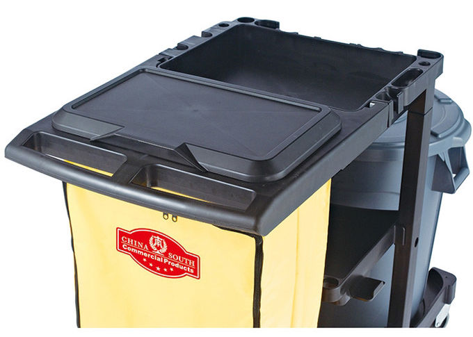 "Black Plastic Cleaning Cart with 3 Shelves and Yellow Vinyl Bag 4'' Non - Marking Casters and 8"" Rear Wheels"