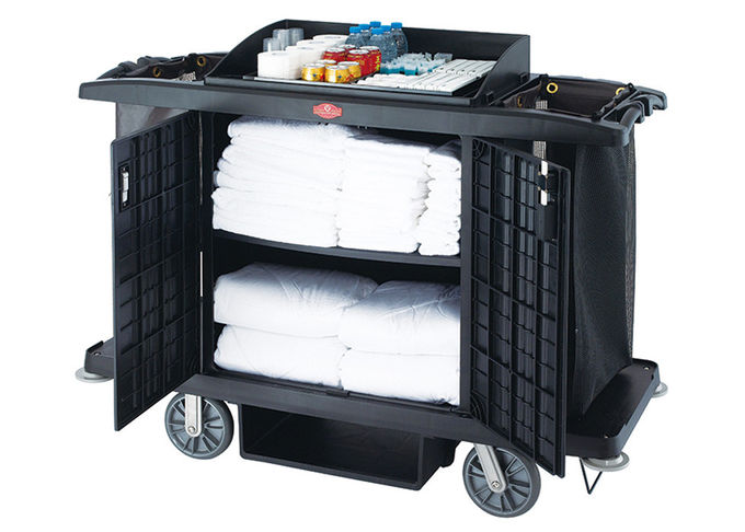 Black / Grey Room Service Equipments / Hotel Room Supplies 2 Shelves Transport Cart