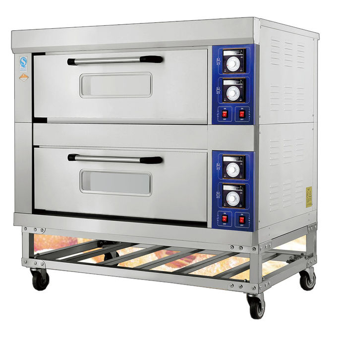2 Decks 4 Trays Electric Far-Infrared Bakery Oven Stainless Steel Exterior Independent Chambers and Temperature Control