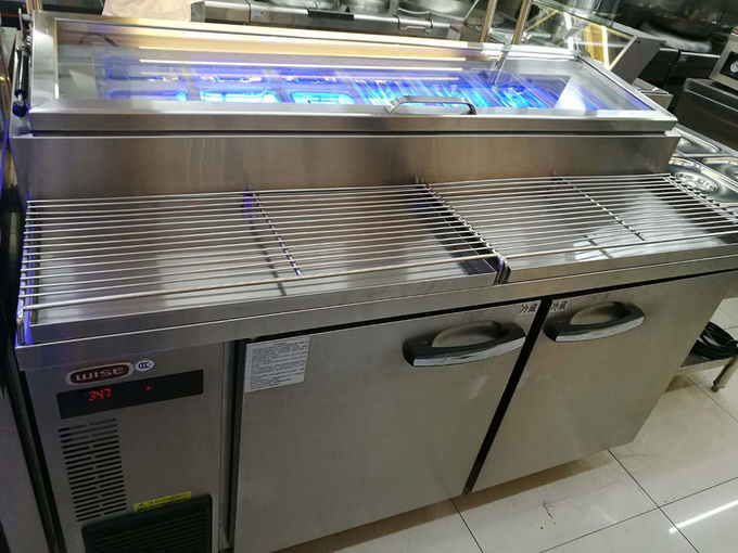 Commercial Pizza Prep Refrigerator With 2 Door Air Cooling Undercounter Chiller Blue Ray Lighting