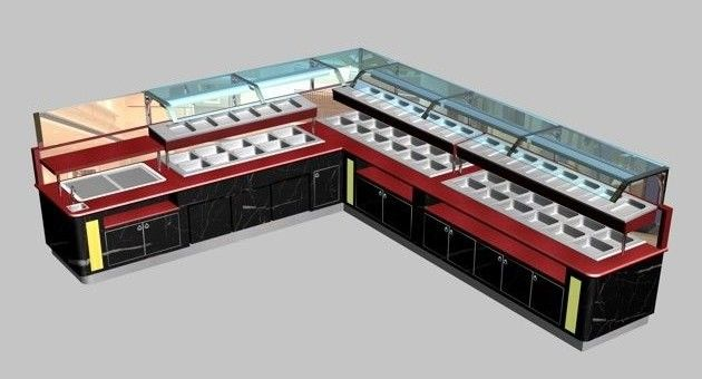 L-Shaped Restaurant Commercial Buffet Equipment, L(6325+4700) x W1000 x H(850+650) MM
