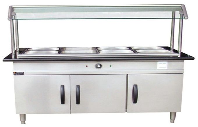 Stainless Steel Hot Food Serving Unit With Storage Cabinet and Top Shelf 1500*700*800+550mm
