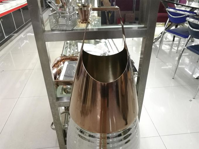 Rose Gold Stainless Steel Champagne Commercial Buffet Equipment With Handle , Heavy Duty Wine Bucket