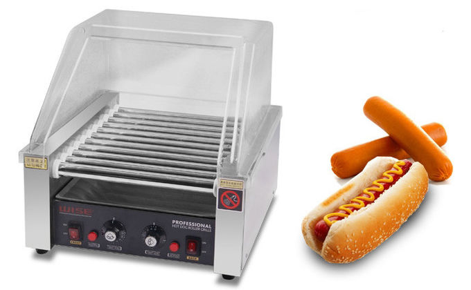 Hot Dog Roller Grill With 11 Rollers 220V 1.65KW, Commercial Snack Bar Equipment