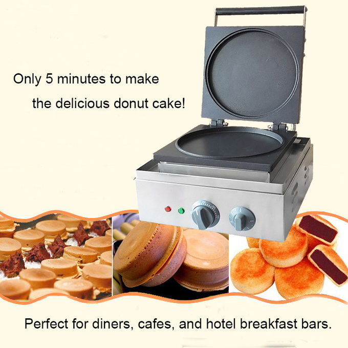Single Round Cake Donut Maker, Electric Crepe Waffle Making Machine Snack Bar Equipment