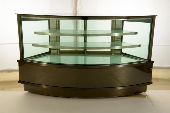 Refrigeration Arc Glass Cake Showcase With Black Marble Base 2100x800x1300MM