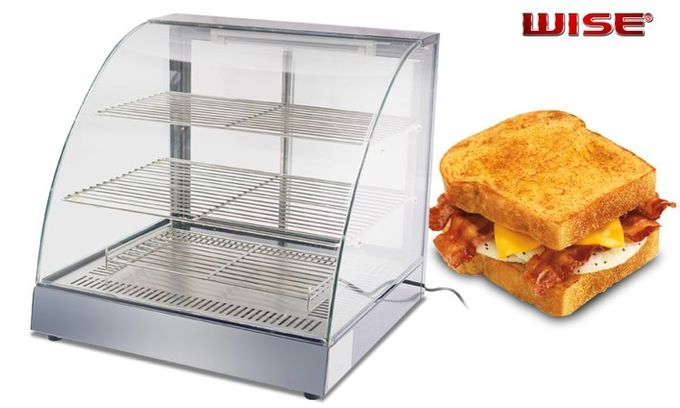 Stainless Steel 304 Tempered Glass Sandwich Display 3-Layer Food Showcase